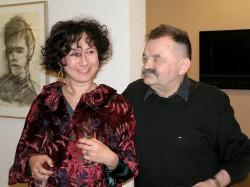 Susanne Ayoub und Alfred Hrdlicka in der Galerie Hilger Foto Martina Judt